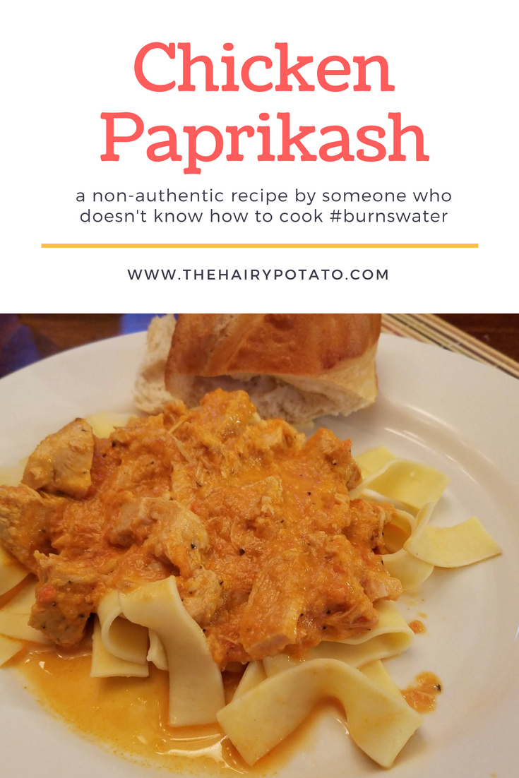 Chicken Paprikash on Noodles
