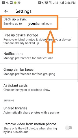 Back up & Sync Setting