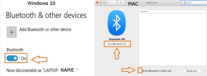 Turn Bluetooth ON Windows & MAC
