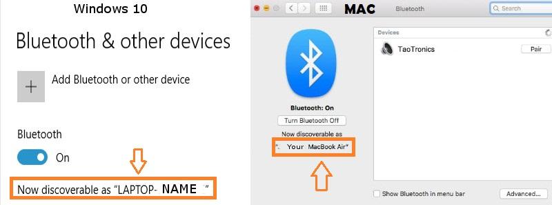 Bluetooth Discover Name Windows & MAC