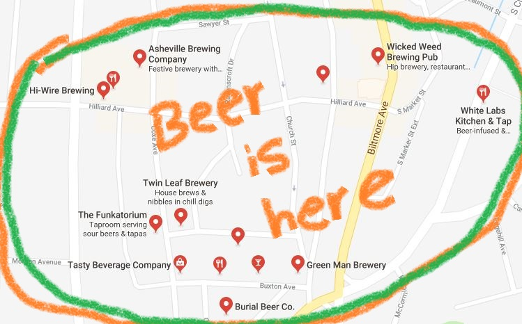Asheville, NC Brewery Map