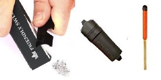 flint stick, waterproof case, waterproof matches