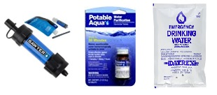 water pump, water tablets, water packets