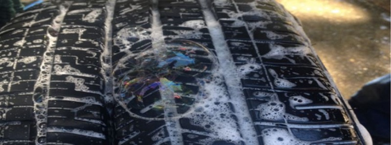 soapy water to find leak in tire