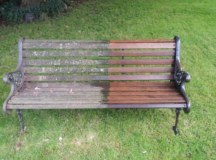 pressure washed bench