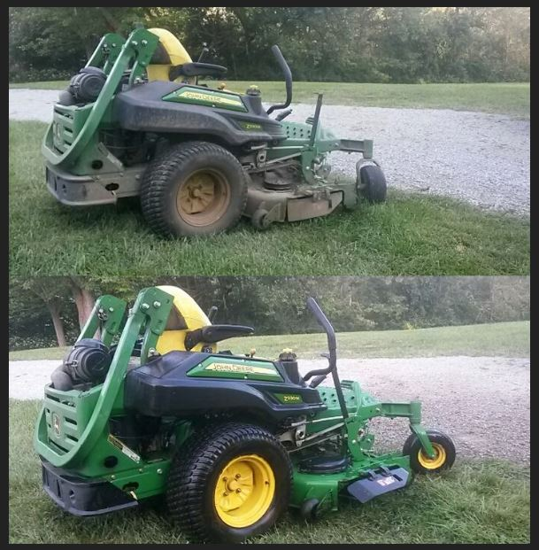pressure washed lawnmower