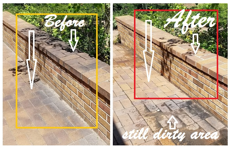 pressure washer brick before after